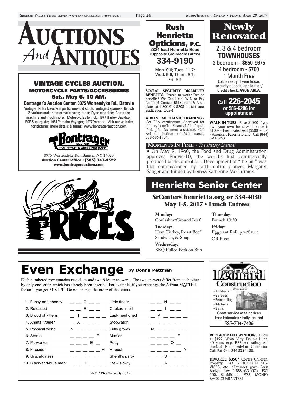 The Genesee Valley Penny Saver Rush-Henrietta Edition 4/28