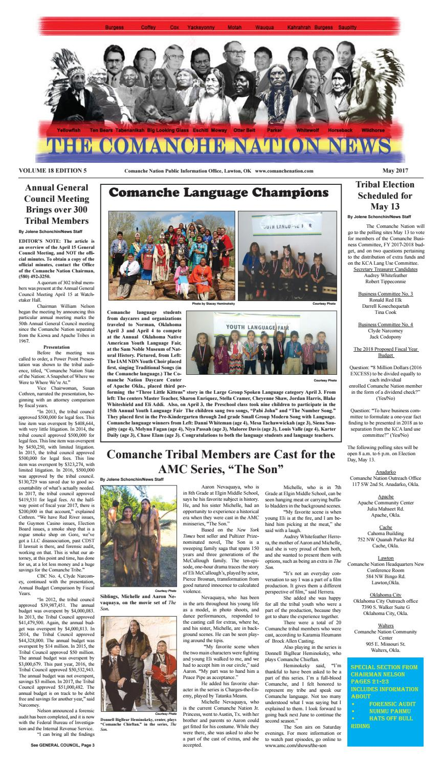 May 2017 TCNN by The Comanche Nation News - issuu