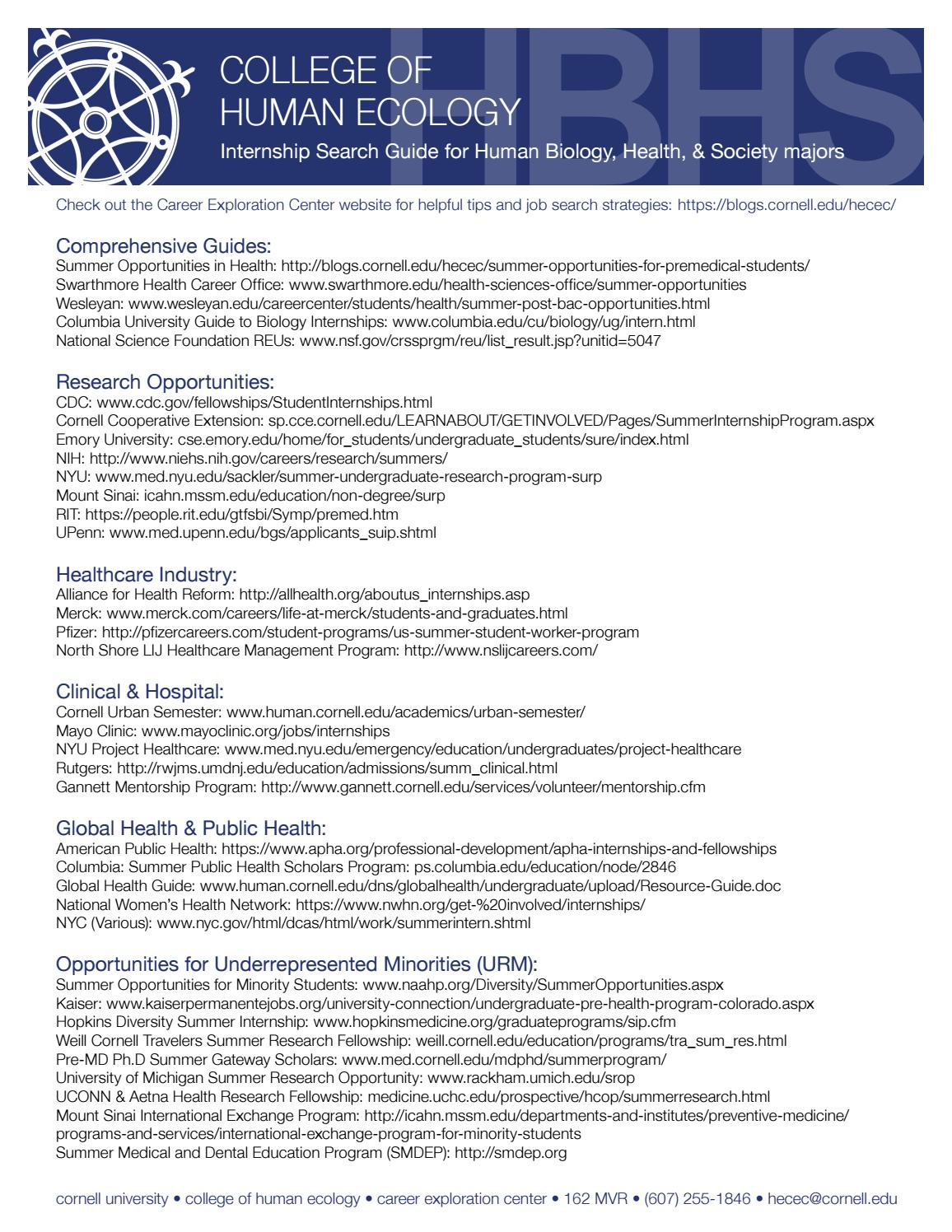 Hbhs Internship Search Guide By Che Career Exploration Center Issuu