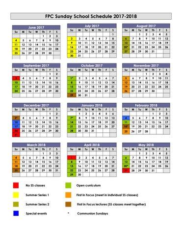 Sunday School Calendar Schedule 2017 2018 by First Presbyterian