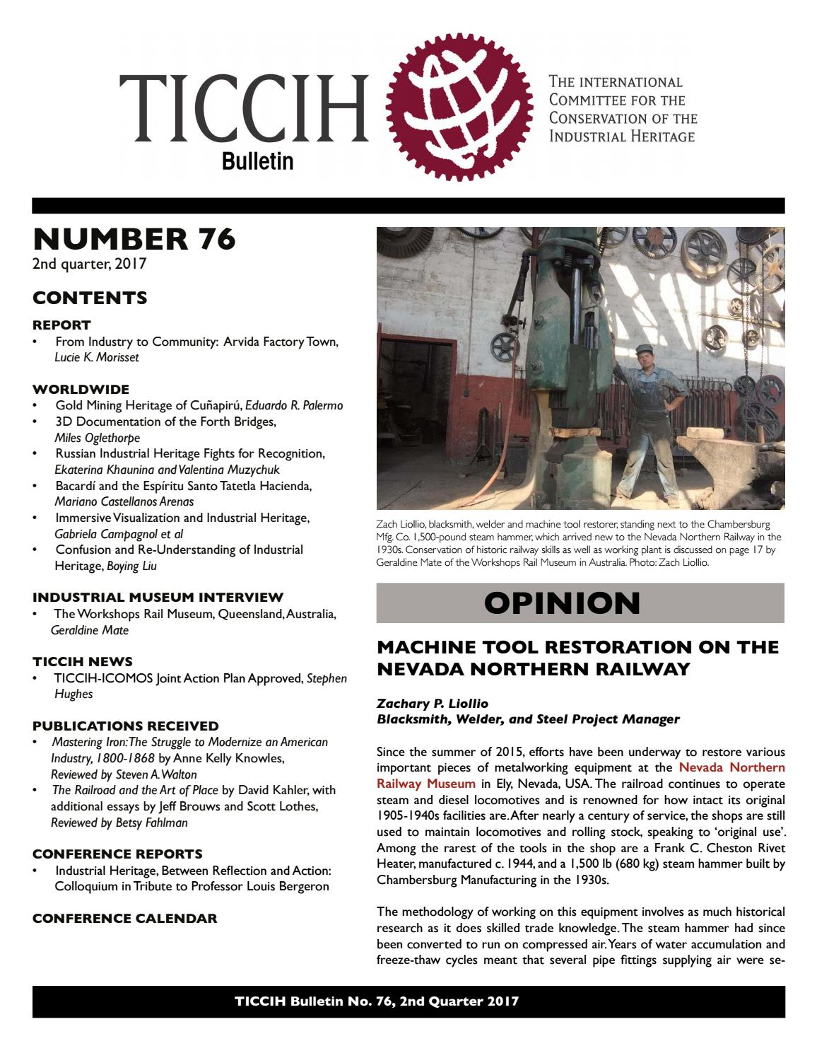 TICCIH Bulletin No  76 2nd Quarter 2017 by TICCIH - The