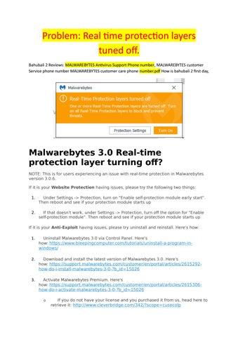 malwarebytes real time protection layers wont turn on