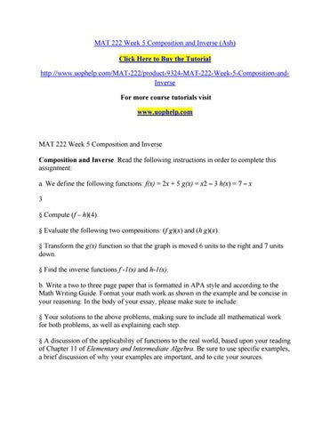 mat222 week 4 assignment essay example Accounting essay mat221 week 4 discussion and review the example of how to complete the math required for this assignment.