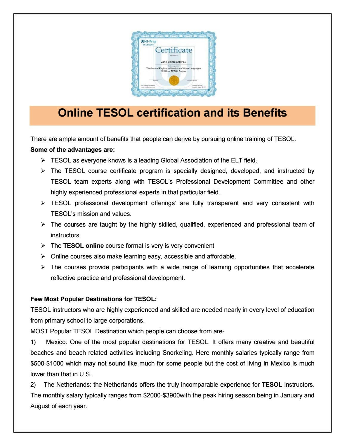 Online Tesol Certification Its Benefits By Uniprep Issuu