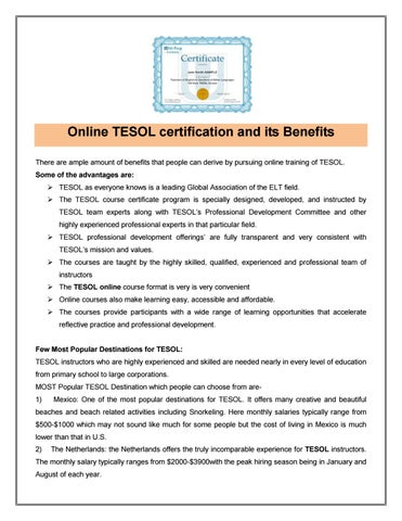 Online tesol certification & its benefits by Uniprep - issuu