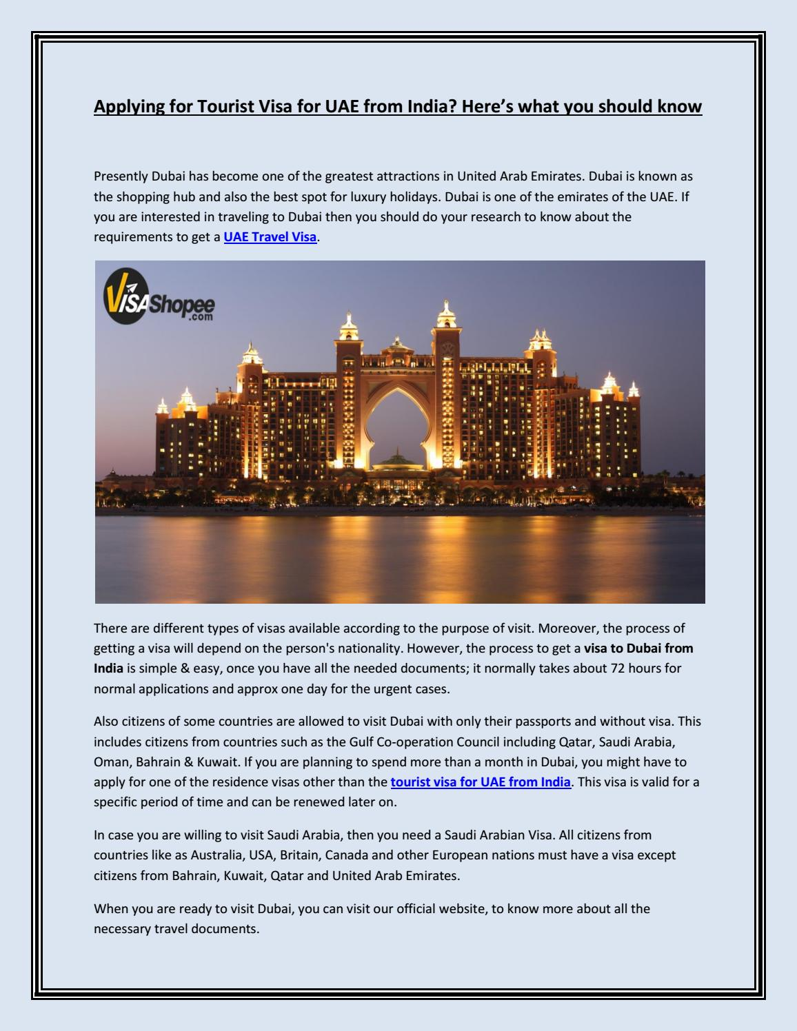 Applying For Tourist Visa For Uae From India Here S What You Should Know By Visadocumentservices Issuu