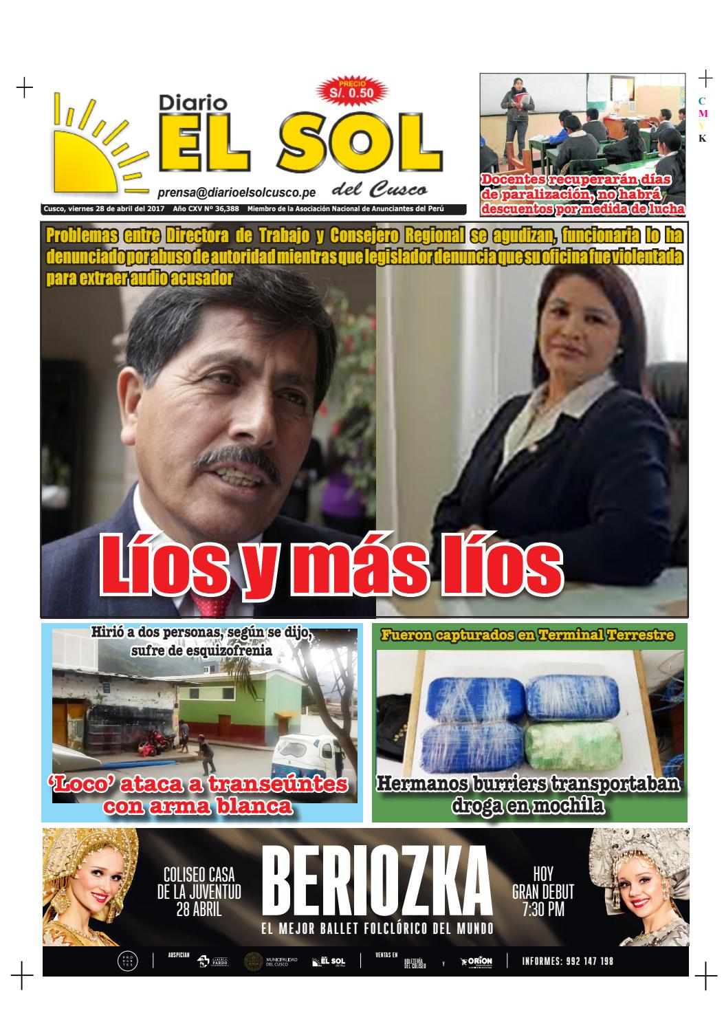 Diario El Sol del Cusco - 28 de abril del 2017 Edición Digital by ...