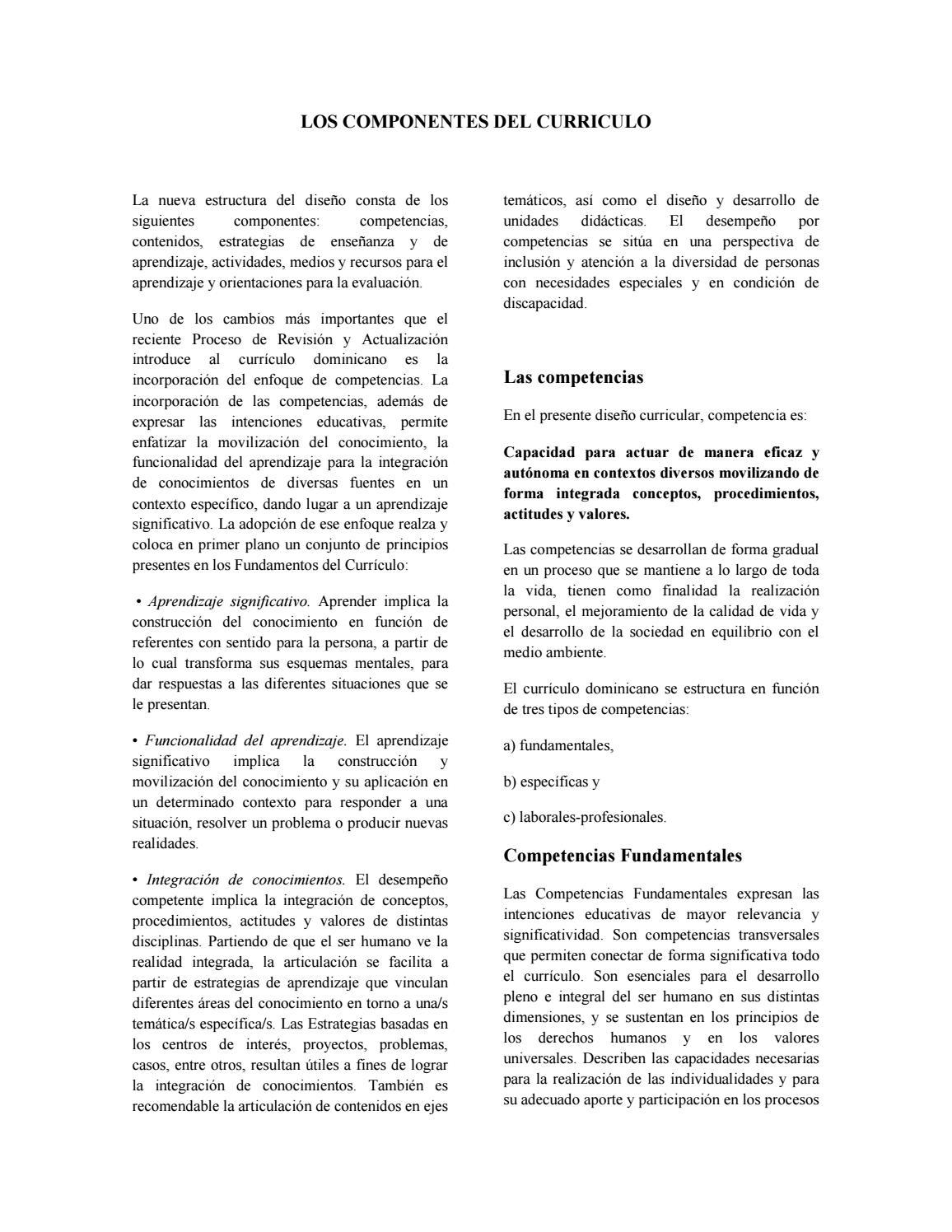 Componentes del curriculo by Mirla Frómeta - issuu