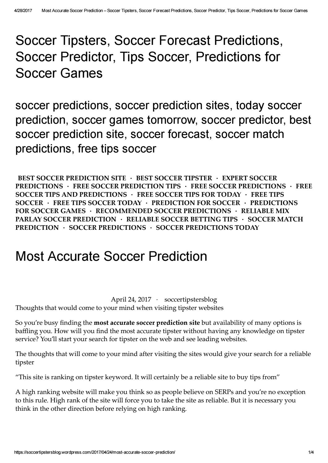 Most accurate soccer prediction by soccertipsters - issuu