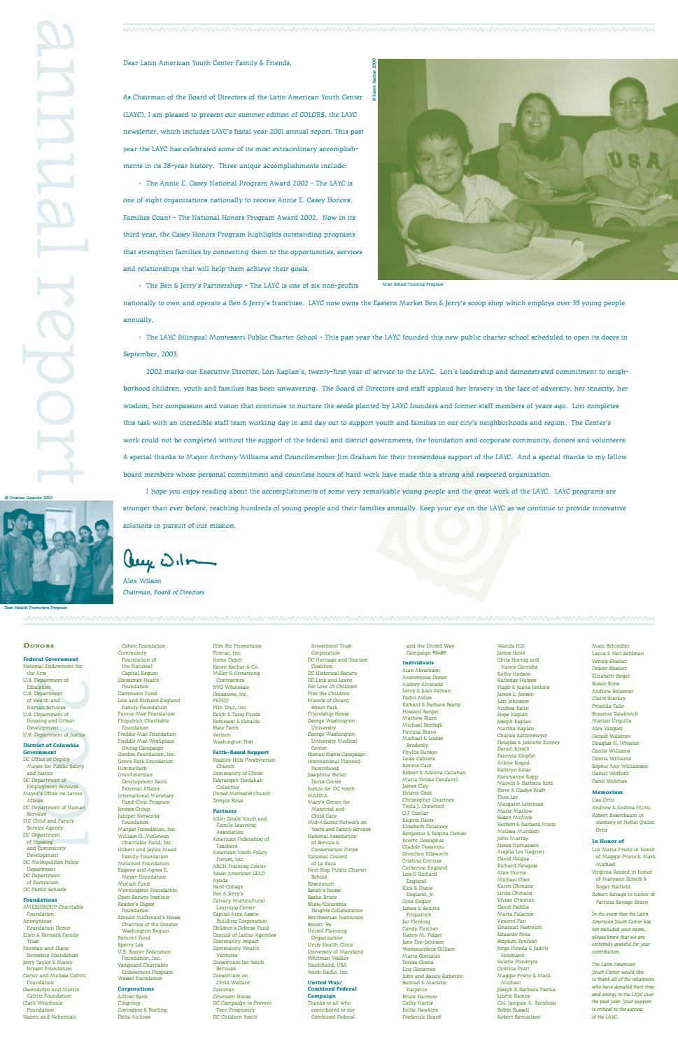 LAYC 2001 Annual Report by Latin American Youth Center - issuu