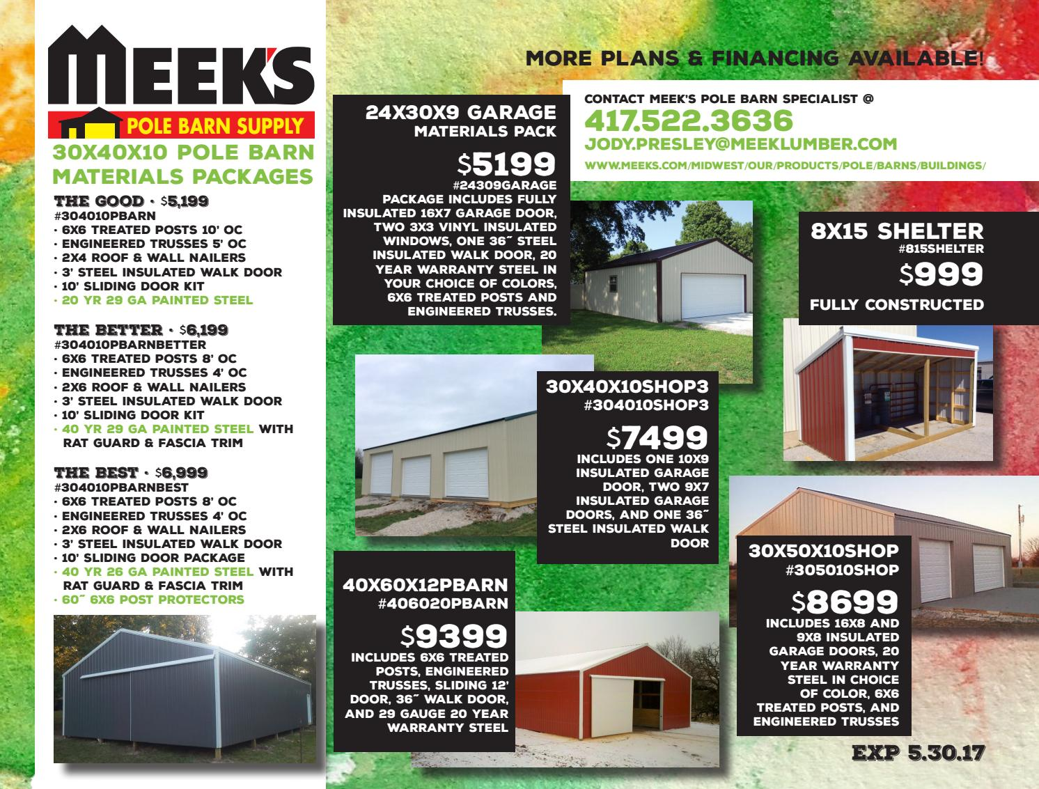 May Pole Barn Specials By Meek Lumber Company Issuu