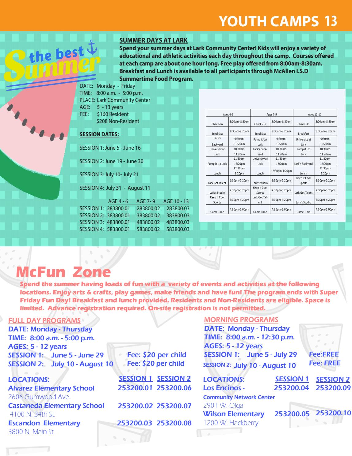 2017 McFun Summer Activities Guide by McAllen Parks and Recreation - issuu