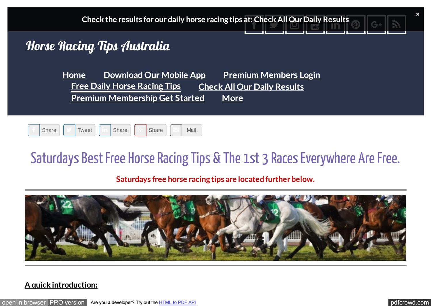free horse racing tips for saturday