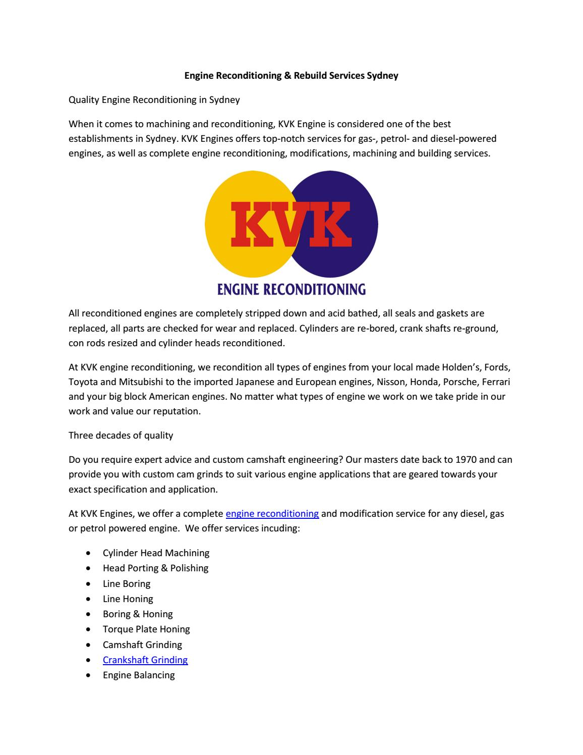 Engine reconditioning rebuild services sydney by Kvk Engine