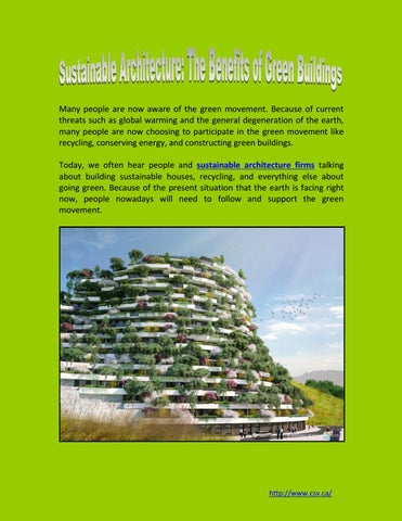 Sustainable Architecture The Benefits Of Green Buildings
