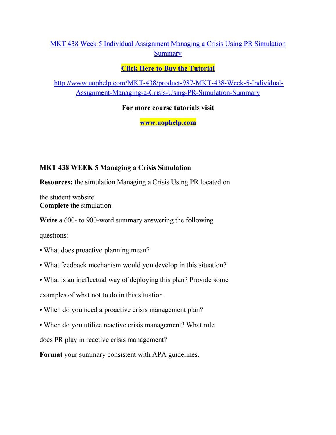 managing a crisis using pr simulation mkt 438