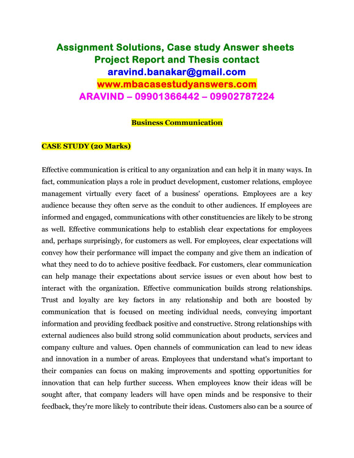 case study of business communication in organization
