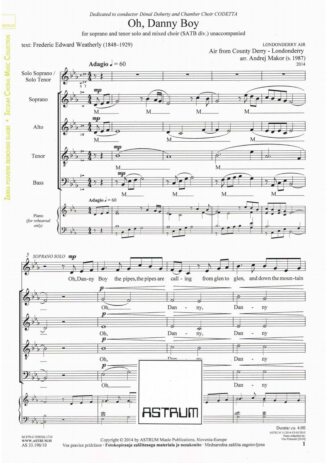 Makor Andrej arr : OH, DANNY BOY for S+T solo and SATB div