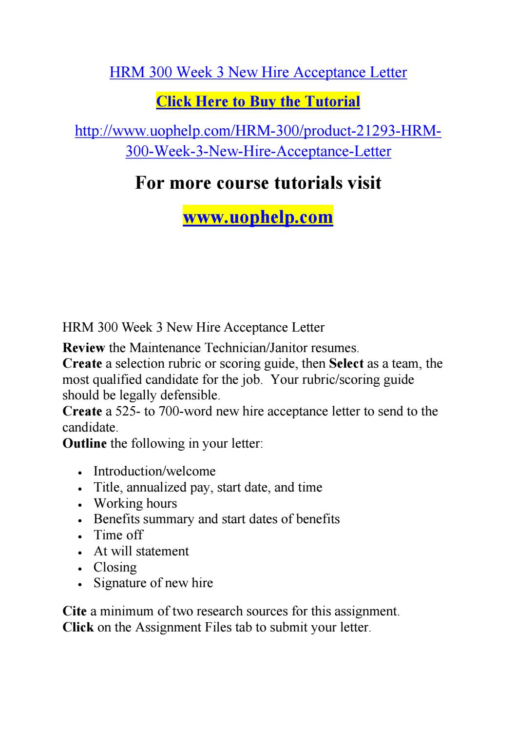 Hrm 300 Week 3 New Hire Acceptance Letter By Hussaingreen