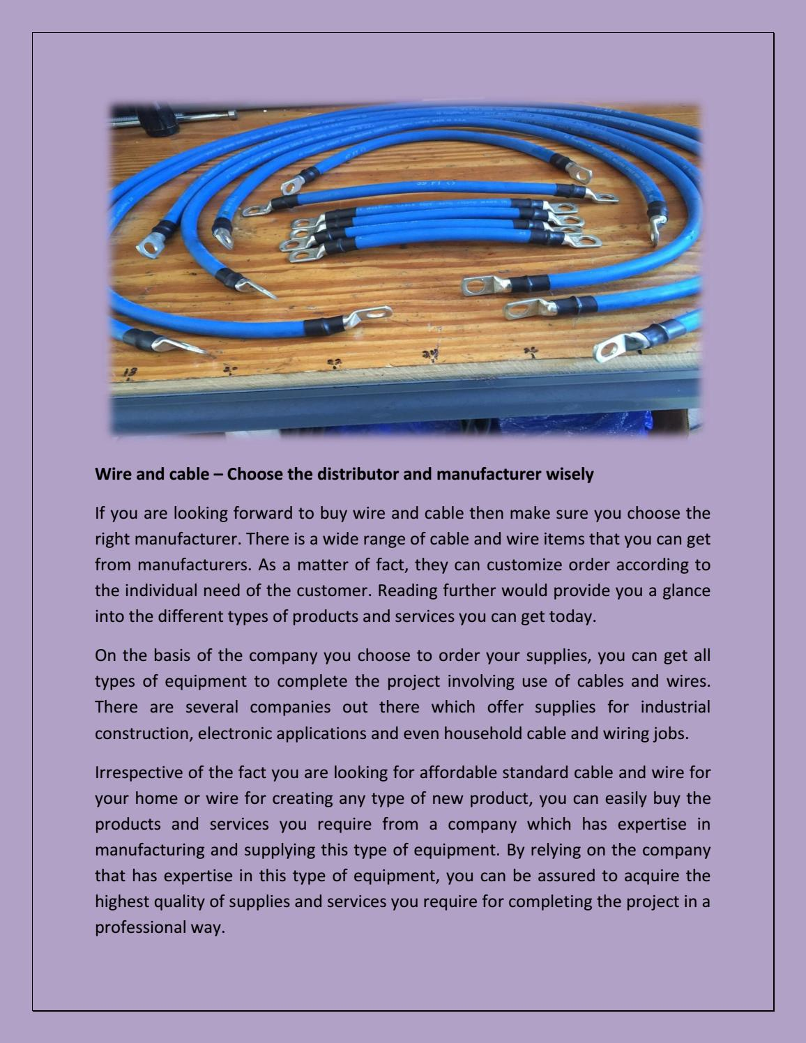 Wire and cable – Choose the distributor and manufacturer ... Wiring Companies on