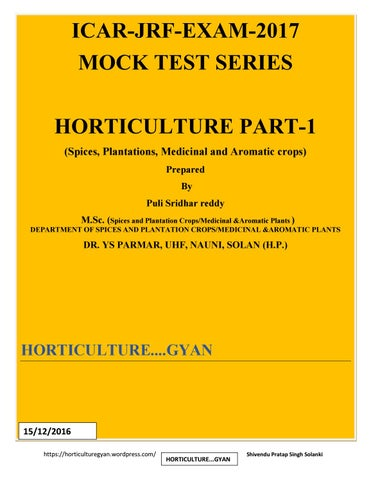 icar jrf mock test 2017 horticulture part 1 by horticulture gyan