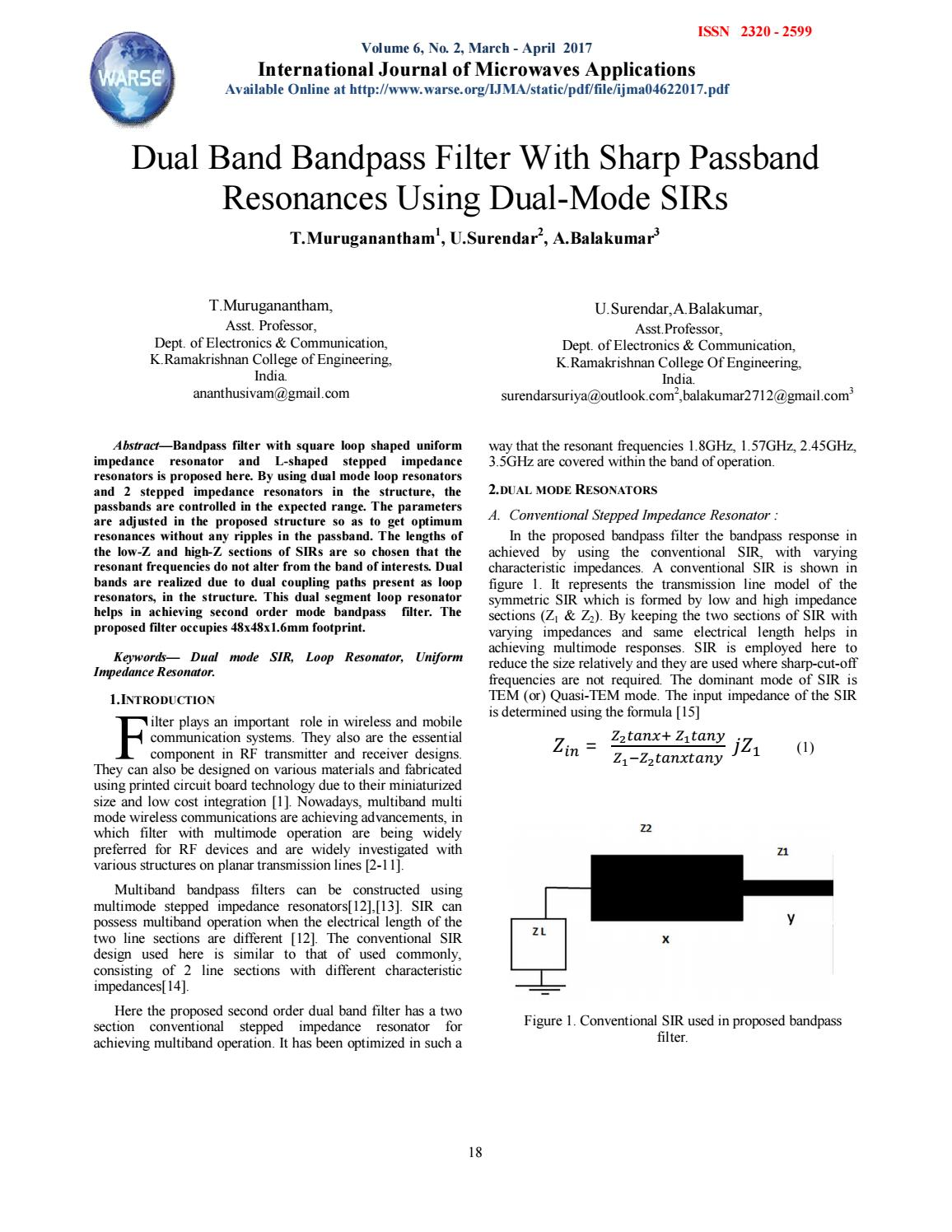Dual Band Bandpass Filter With Sharp Passband Resonances Using Pass Filters Mode Sirs By The World Academy Of Research In Science And Engineering Issuu