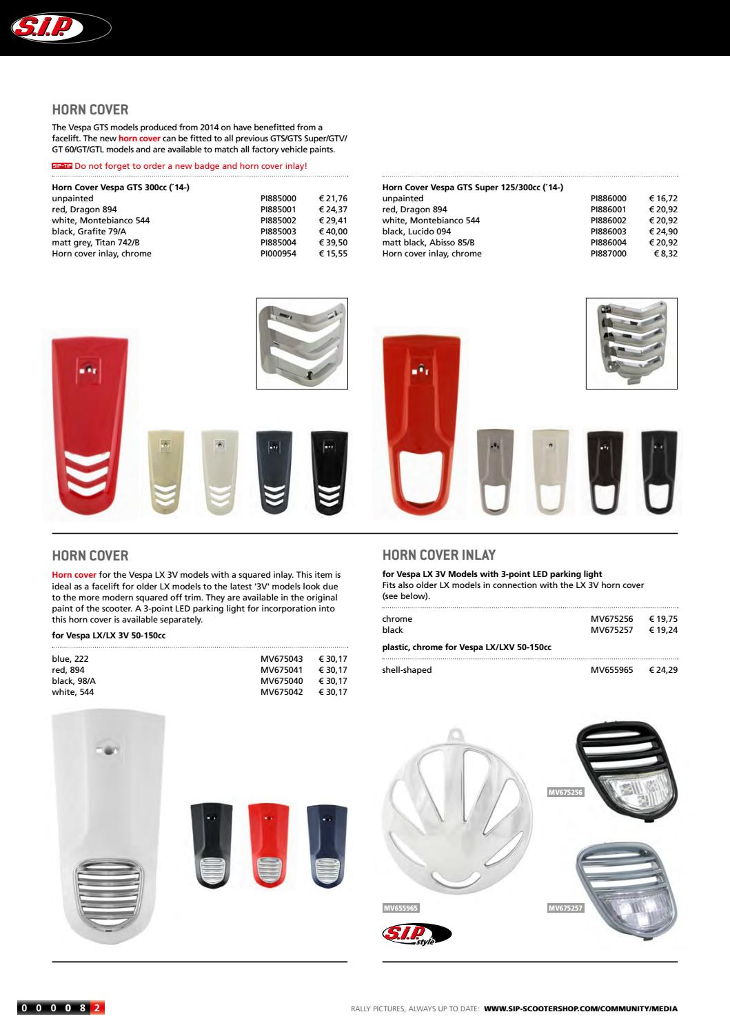 Catalogue Sip For Modern Vespa 2017 2018 By Sip Scootershop Gmbh Issuu