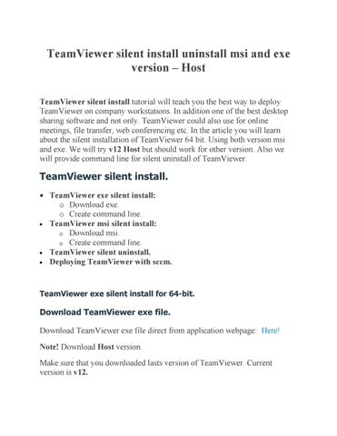 Teamviewer silent install by Get It Solutions - issuu
