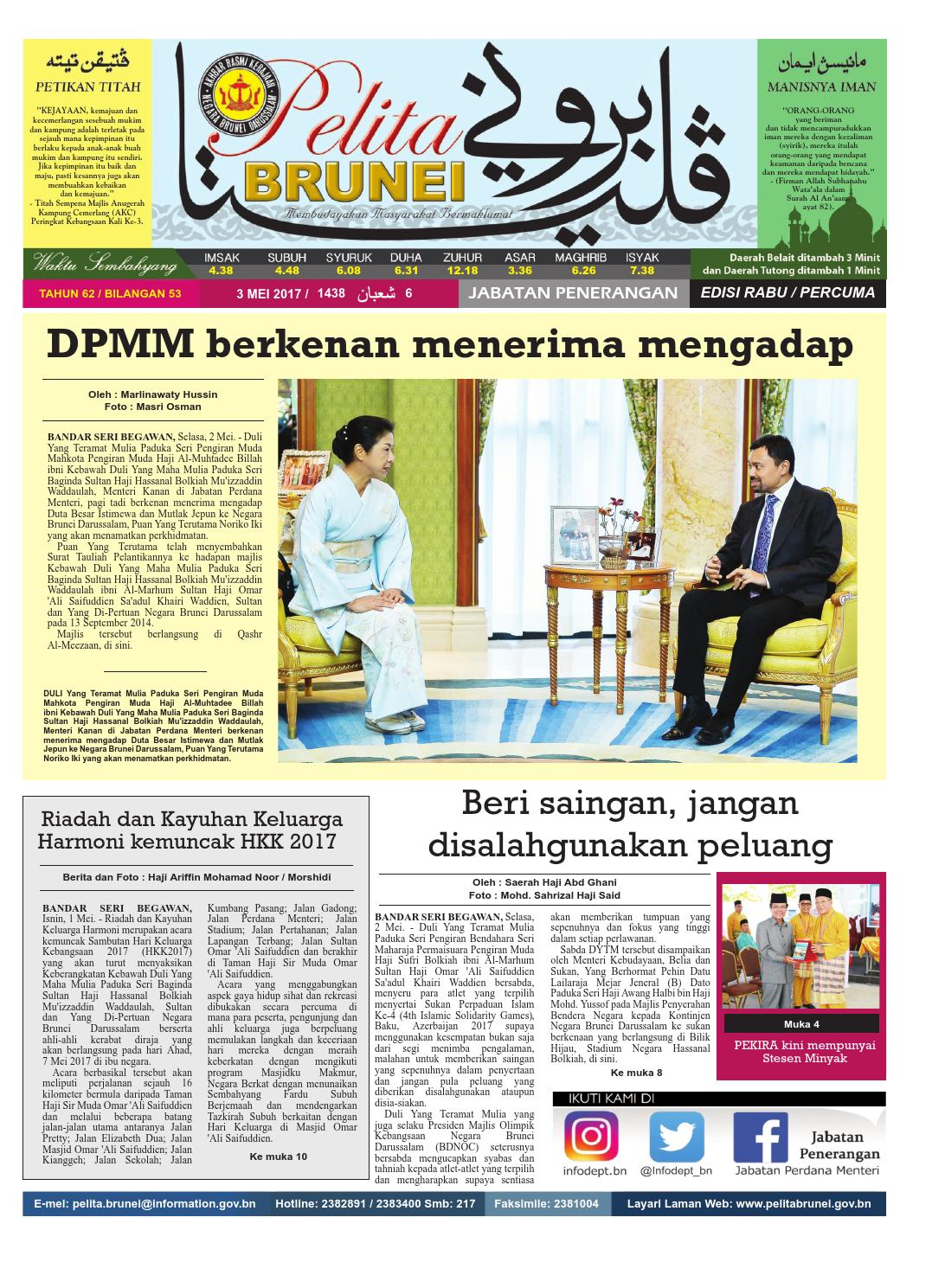 Pelita Brunei Rabu 03 Mei 2017 By Putera Katak Brunei Issuu