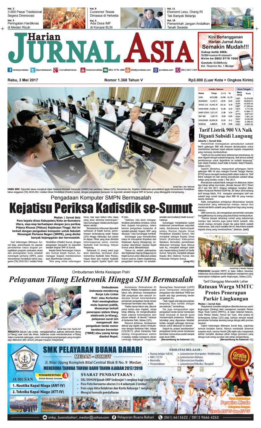 Harian Jurnal Asia Edisi Rabu 03 Mei 2017 By Produk Ukm Bumn Tas Ransel Threepoint Medan Issuu