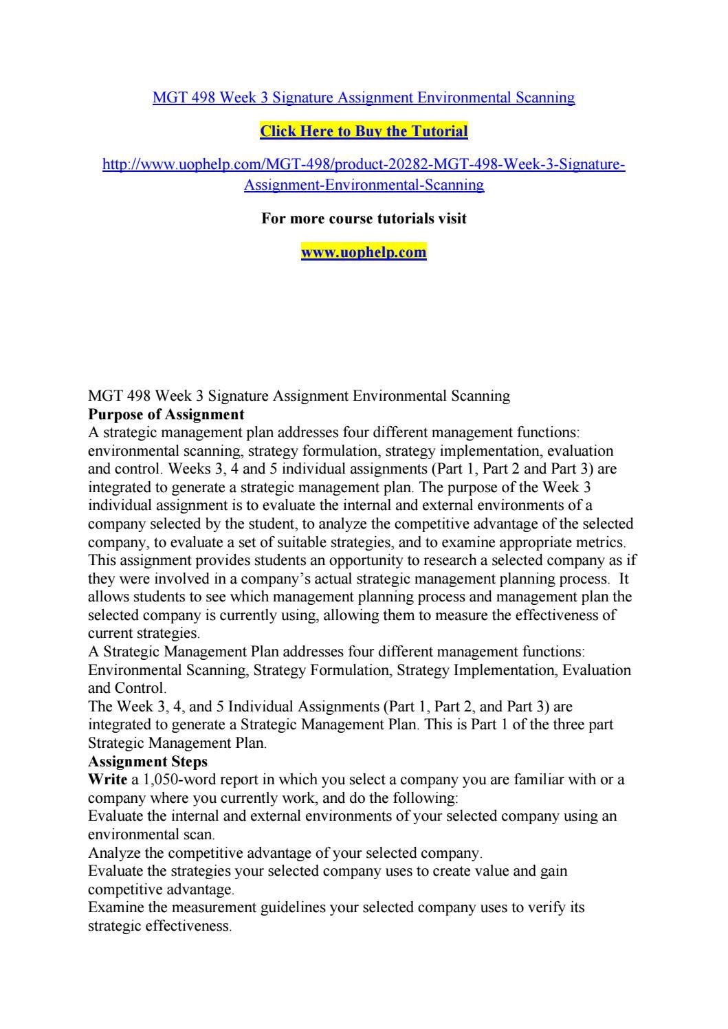 mgt 498 week three individual environmental scan Read mgt 498 week 3 learning team weekly reflection from the story mgt 498 week 3 individual environmental scan paper mgt 498 week 3 learning team weekly reflection.