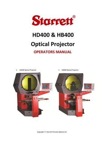 hd400 hb400 optical profile projector manual by the l s starrett rh issuu com Manuals for Dell Laptops Car Owners Manual