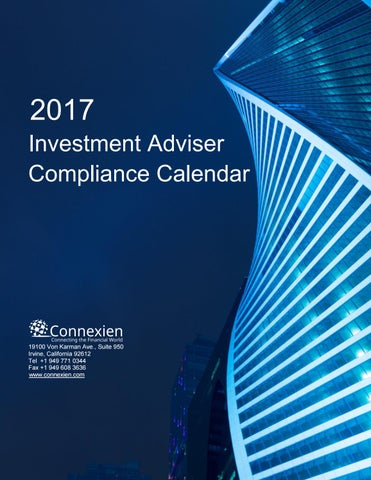investment adviser compliance 2017 Investment Adviser Compliance Calendar by Scott Tarra - issuu