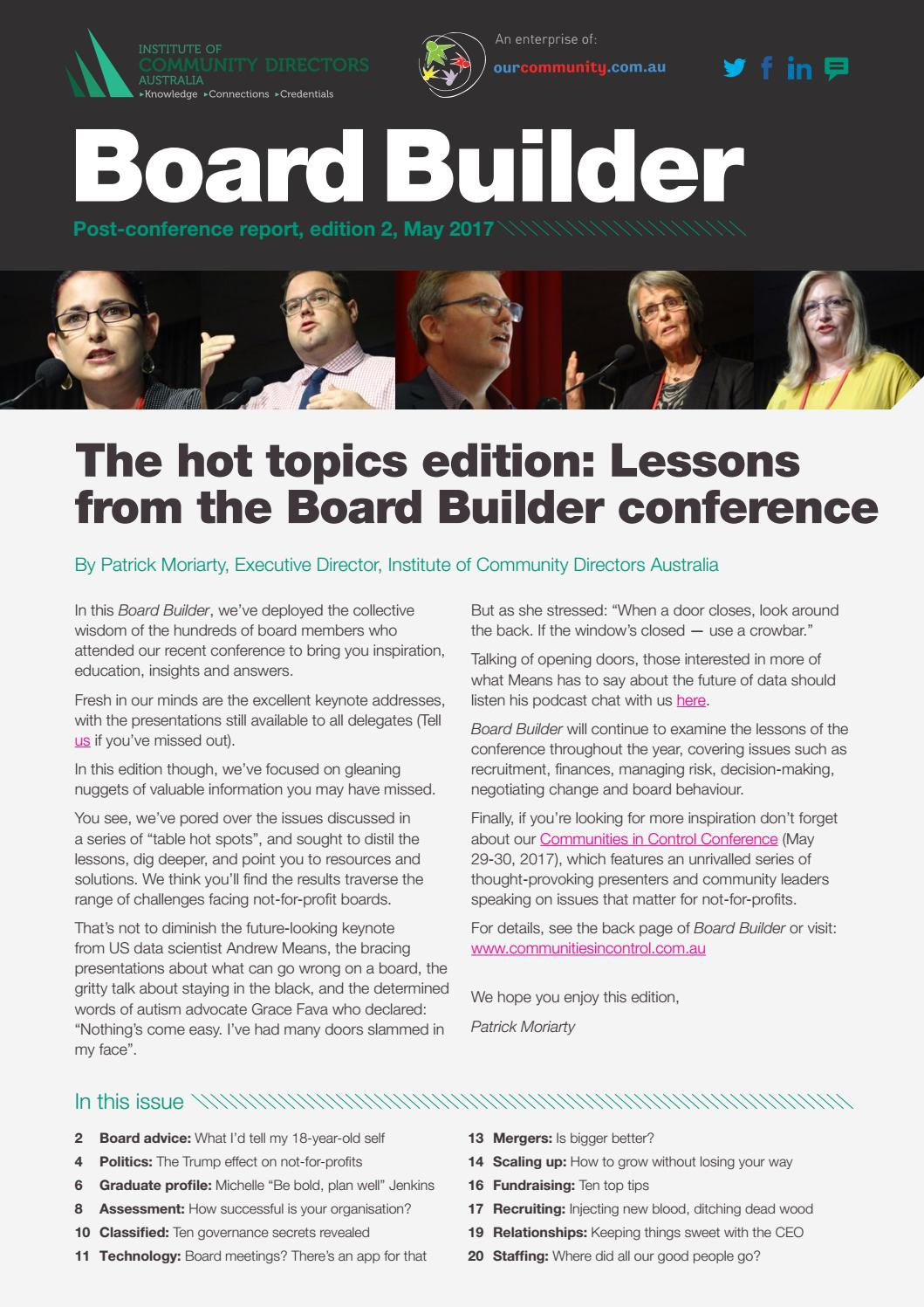 Board Builder: The hot topics edition by Our Community - issuu