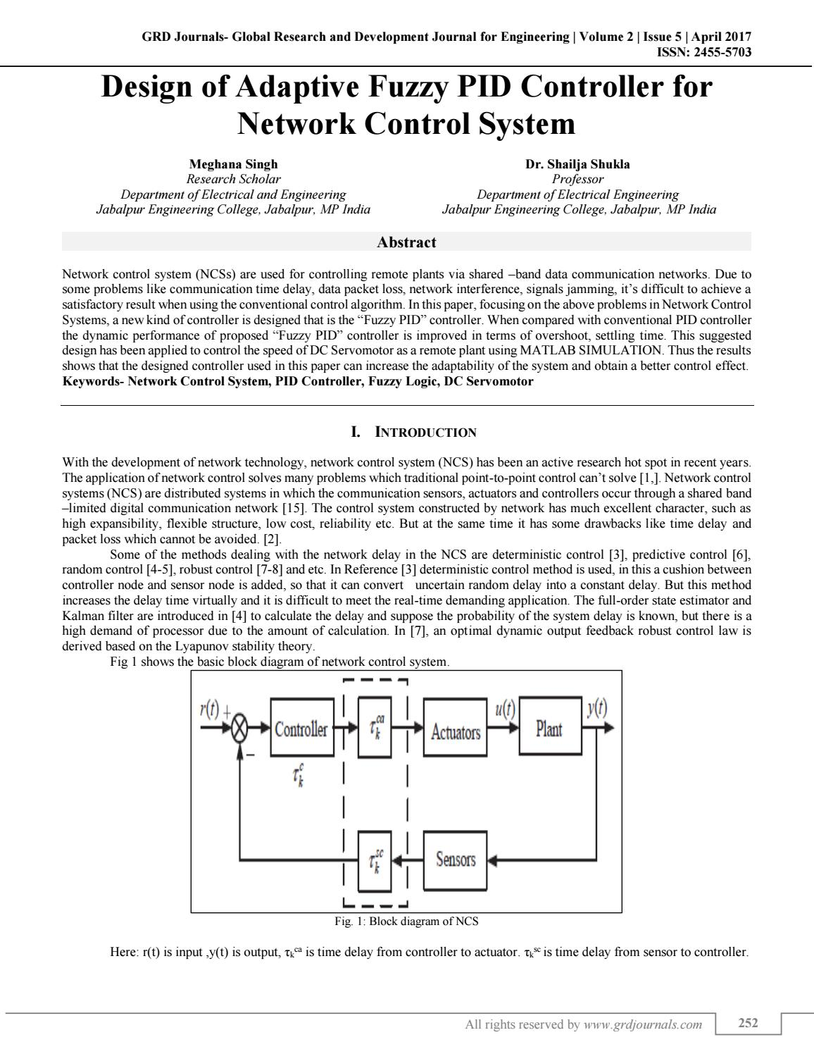 Design Of Adaptive Fuzzy Pid Controller For Network Control System P Id Block Diagram By Grd Journals Issuu