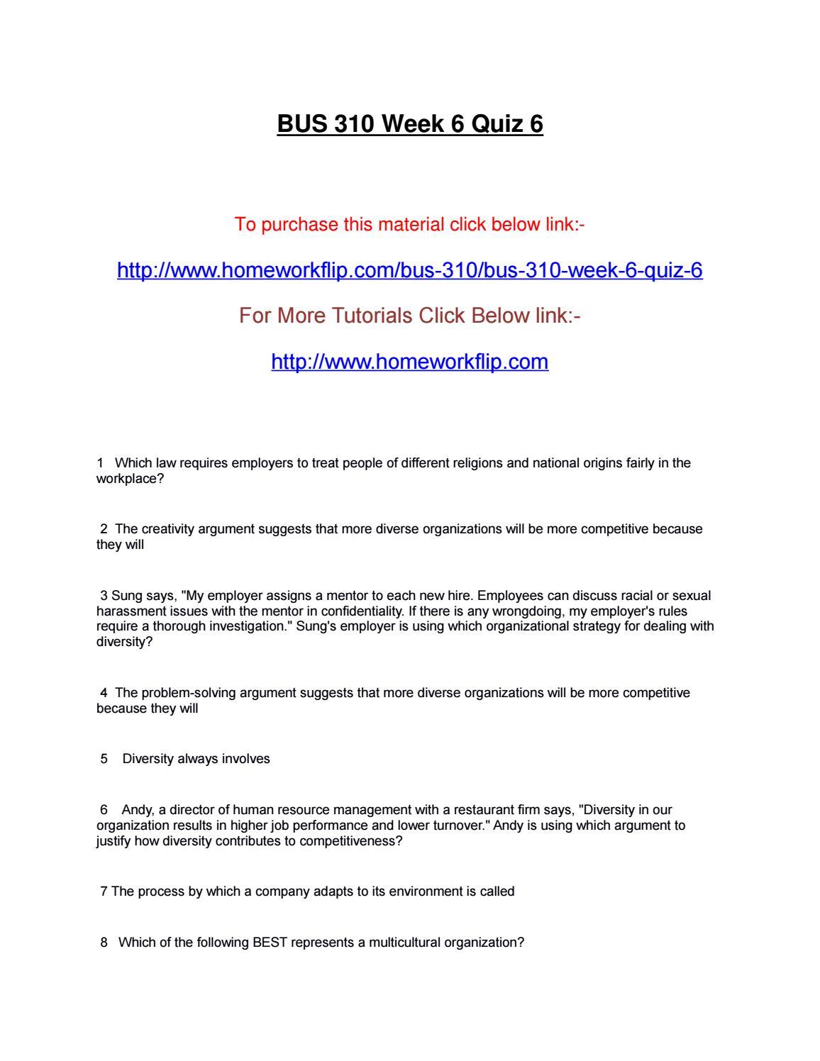 Bus 310 Week 6 Quiz 6 By Homeworkflip Book Issuu