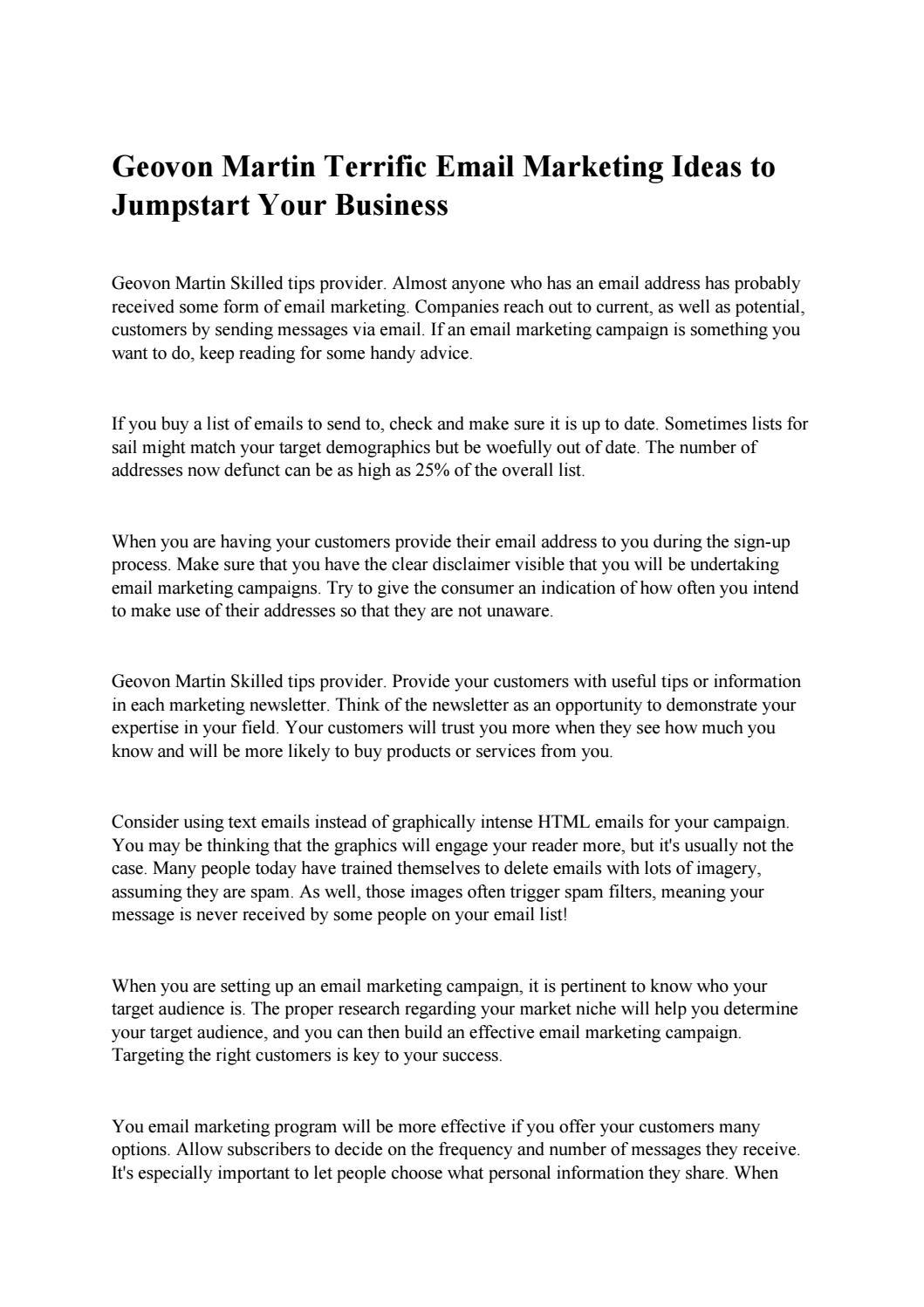 Geovon martin terrific email marketing ideas to jumpstart