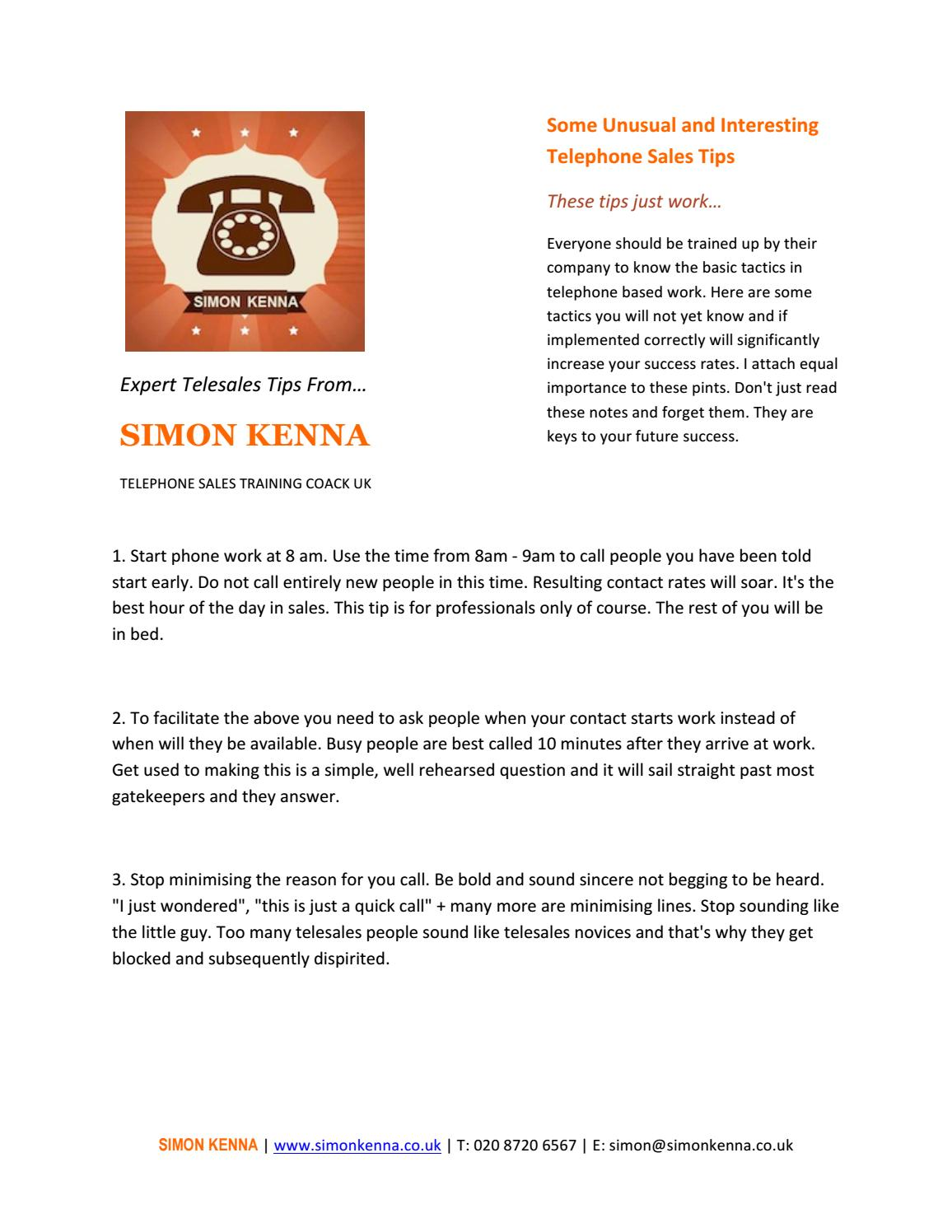 Some unusual and interesting telephone sales tips by ronanmarho - issuu