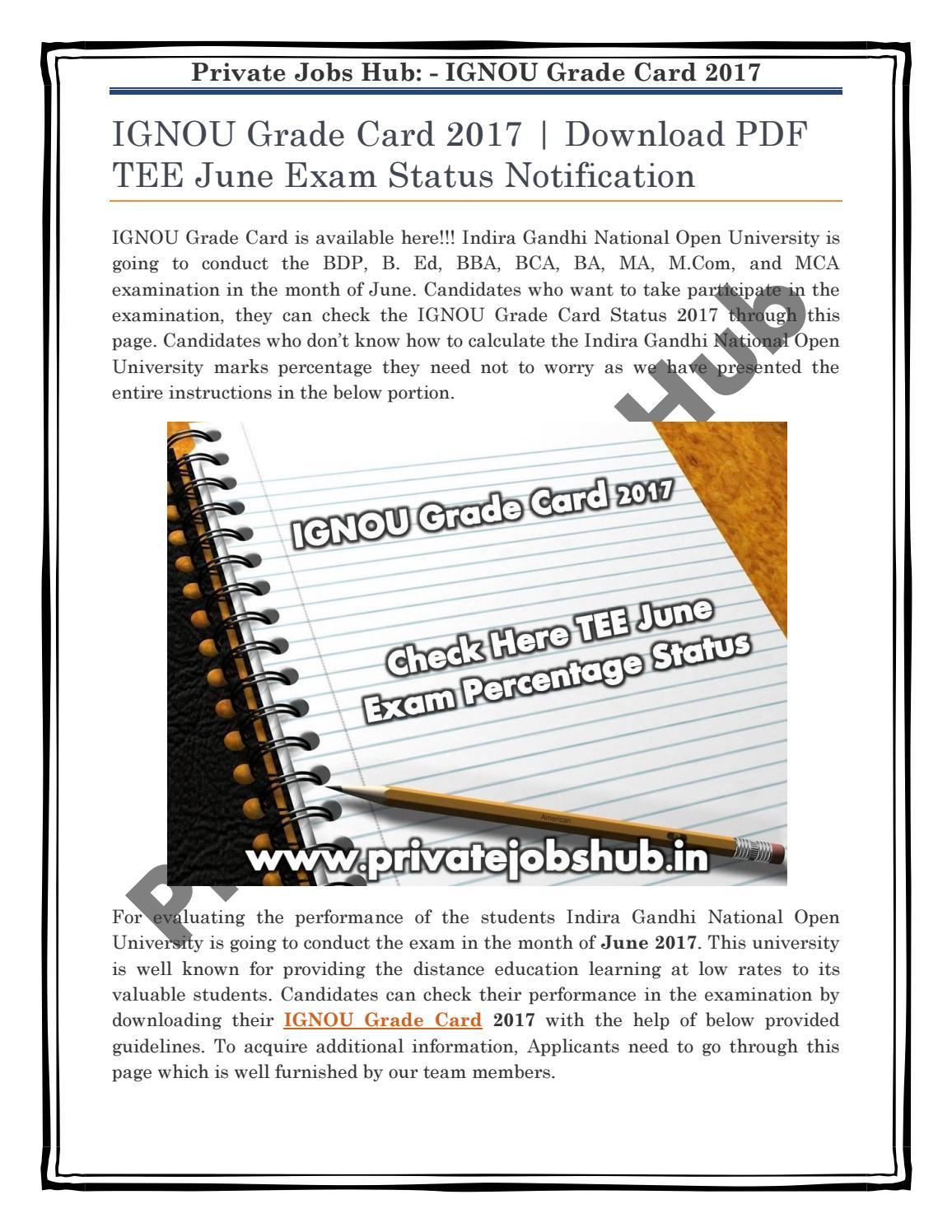 IGNOU Grade Card 2017 | Download PDF TEE June Exam Status Notification