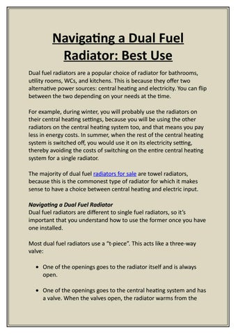 Navigating a Dual Fuel Radiator: Best Use by designerradiatorsdirect ...