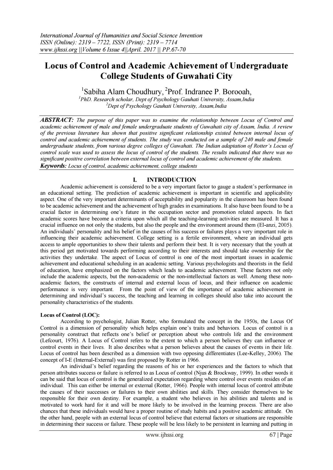 Locus of Control and Academic Achievement of Undergraduate College Students  of Guwahati City