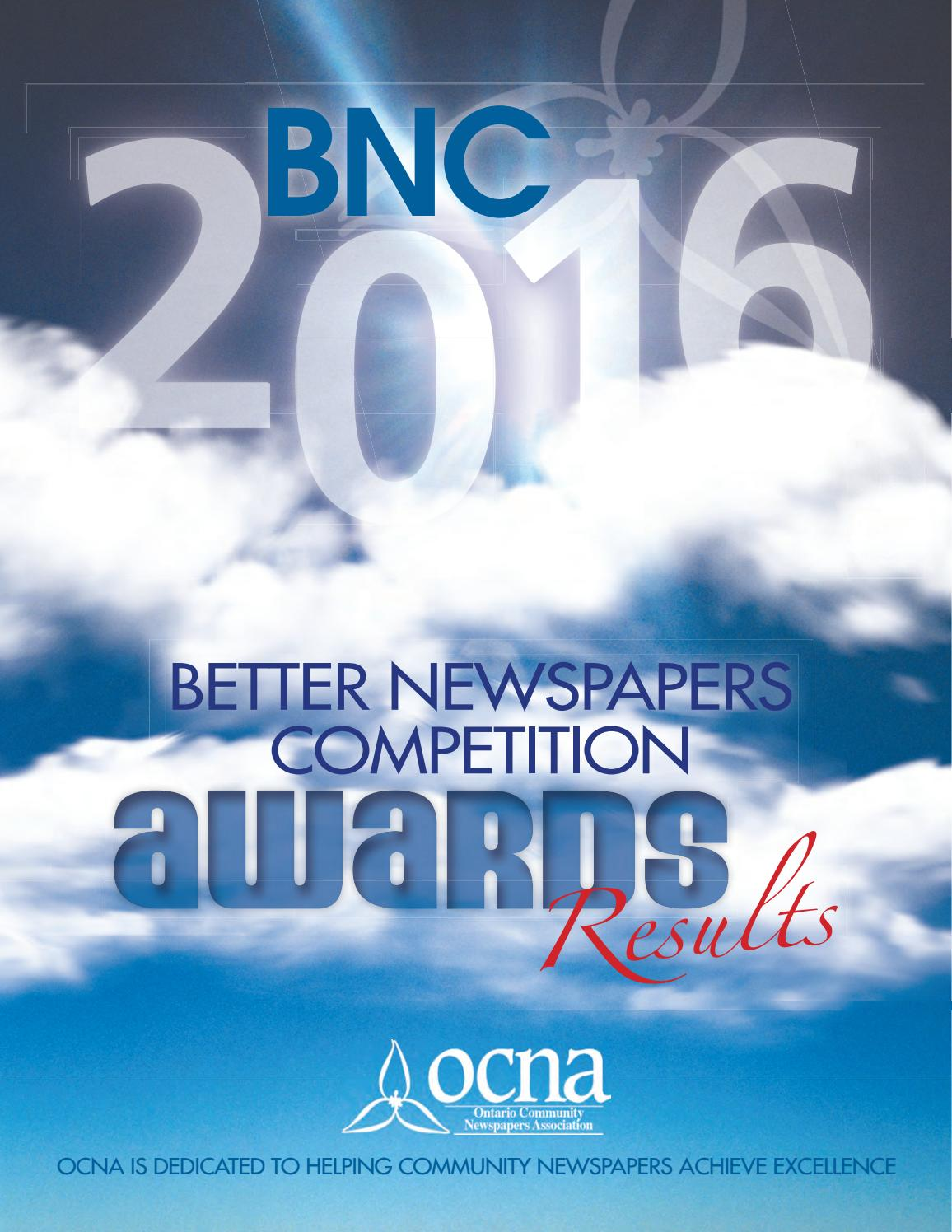 2016 BNC Awards Results booklet by Ontario Community Newspapers ...
