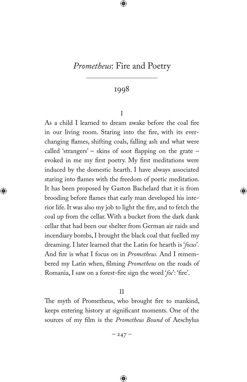 prometheus fire and poetry by tony harrison by faber and faber