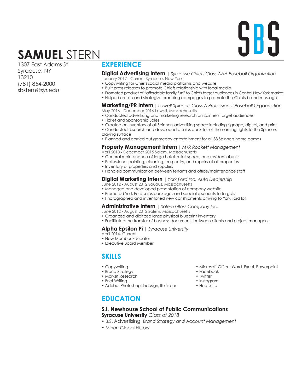 Samuelstern resume by sam stern issuu malvernweather