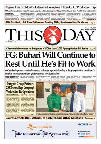 Thursday 4th May 2017 by THISDAY Newspapers Ltd - issuu