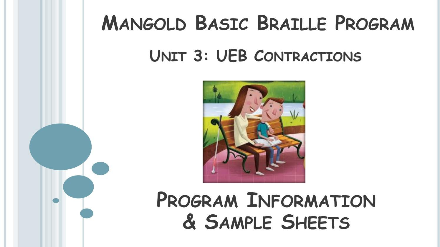 Mangold Basic Braille Unit 3 Information by Exceptional Teaching Inc ...