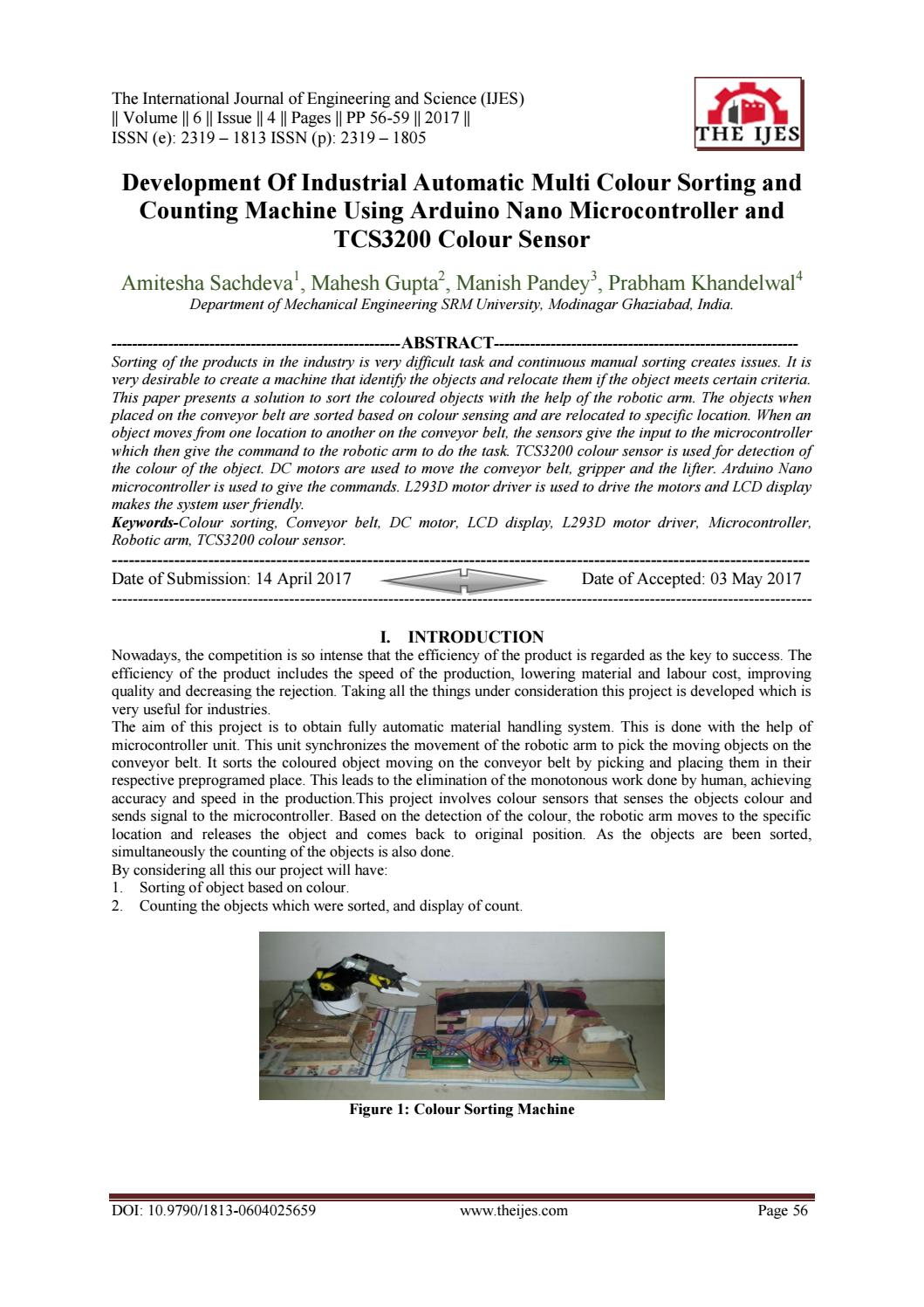 Development Of Industrial Automatic Multi Colour Sorting and