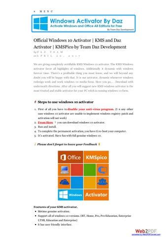 windows 10 activator permanent by daz 2017