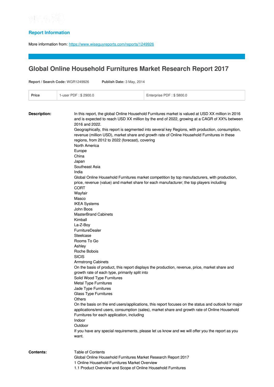 online household furnitures 2017 global market share