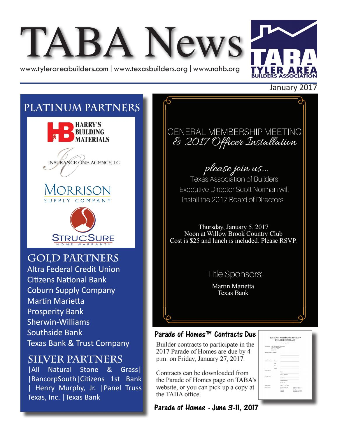sc 1 st  Issuu & January 2017 Newsletter by Tyler Area Builders Association - issuu azcodes.com